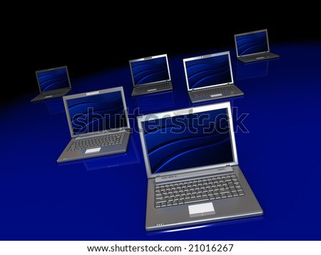 3d illustration of group of laptops over dark background