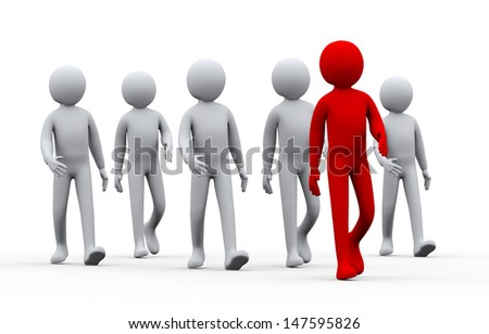 3d illustration of group of people following their leader.  3d rendering of human people character. - stock photo