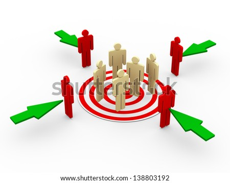 3d illustration of group of people on target. Green arrows taking new buyers and customer to target. - stock photo