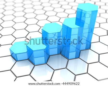 3d illustration of grwoing graph over white hexagons background - stock photo