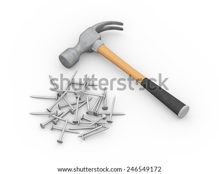 3d illustration of hammer and many metal steel nails - stock photo