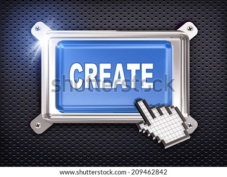 3d illustration of hand cursor pointer and chrome button presentation of concept of create - stock photo