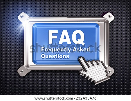 3d illustration of hand cursor pointer and chrome button presentation of concept of faq freqeuntly asked questions - stock photo