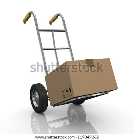 3d illustration of hand truck with cardboard box parcel. - stock photo