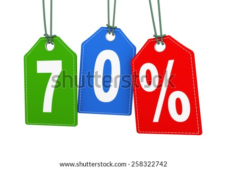3d illustration of hanging with string label tag of 70 percent special discount deal. - stock photo