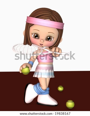 3d illustration of happy sporty girl in tennis outfit - stock photo