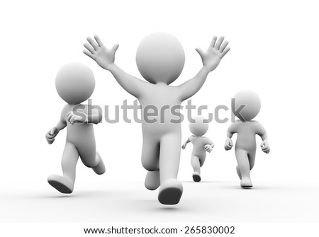 3d illustration of happy winning man in the race. Concept of race, sport, competition, winning. 3d rendering of human people character - stock photo