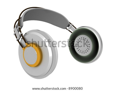 3d illustration of headphones isolated on white background