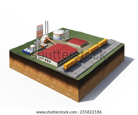 3d illustration of heavy machinery of gravel production factory standing on cross section of ground with grass isolated on white - stock photo