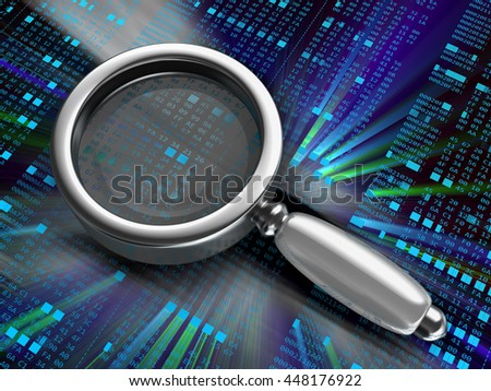 3d illustration of hexademical code and magnify glass, analyze or debugging concept - stock photo