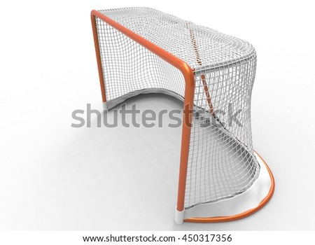 3d illustration of hockey gates. icon for game web. white background isolated. winter sport - stock photo