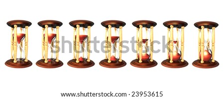 3d Illustration of hourglass series over white background. The red sand falling down, sign the time passing - stock photo