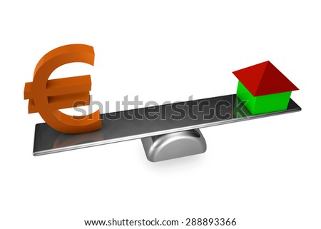 3d illustration of house and euro sign on board scale, over white background