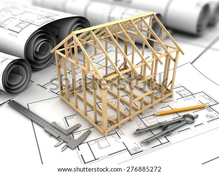 3d illustration of house blueprints and frame model - stock photo