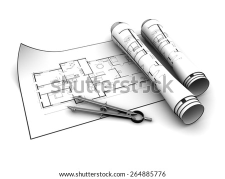 3d illustration of house blueprints over white background - stock photo