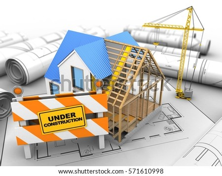Attractive 3d Illustration Of House Construction Over House Plan Background With Crane