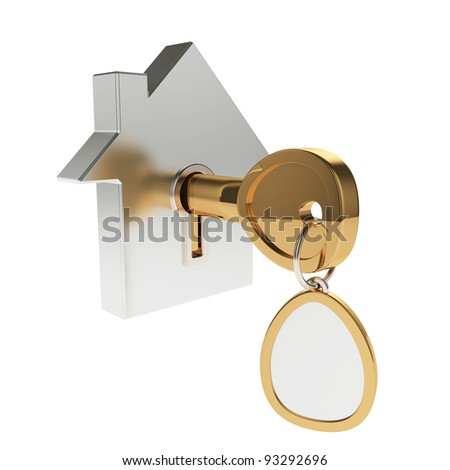 3d illustration of house icon with key isolated on white - stock photo