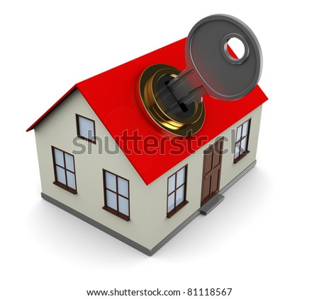 3d illustration of house opening with key, over white background - stock photo