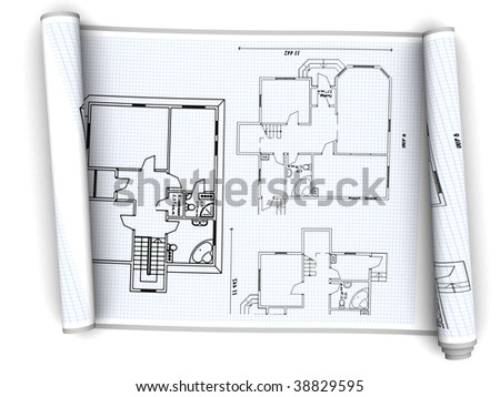3d illustration of house plan paper scroll over white background - stock photo
