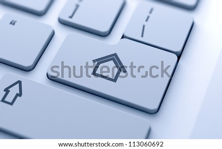 3d illustration of house sign button on keyboard with soft focus - stock photo