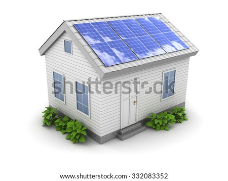 3d illustration of house with green plants and solar panel on roof - stock photo