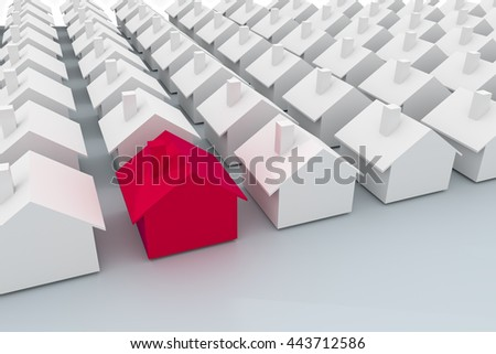 3d illustration of Houses concept one is red