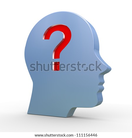 3d illustration of human head and question mark.