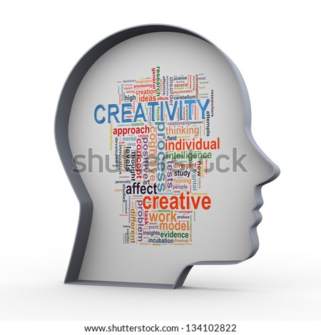 3d illustration of human head and wordcloud word tags of creativity and innovation. - stock photo