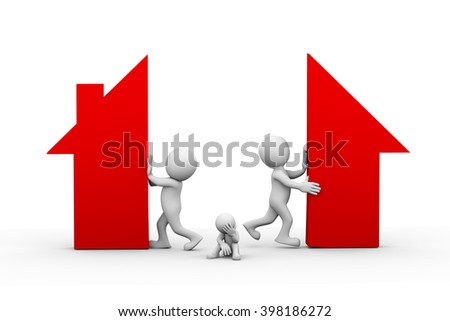 3d illustration of husband wife broking and separating home house symbol. family problem, people conflict and dispute