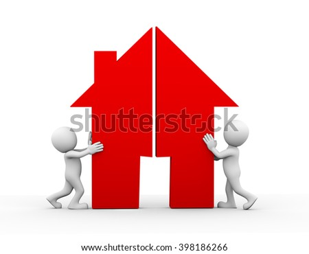 3d illustration of husband wife joining split house home symbol together. Concept of dispute resolve and happy family