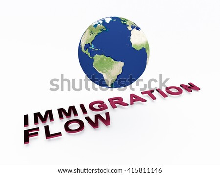 "3D illustration of ""IMMIGRATION FLOW"" script , under a 3D model of the world. Earth concept."
