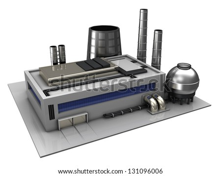 3d illustration of industrial building or factory over white background - stock photo