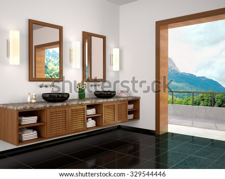 3d illustration of Interior bathroom with beautiful view to natu - stock photo