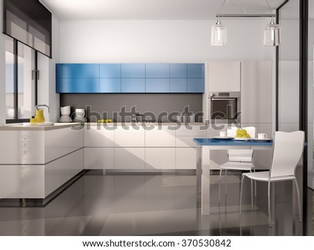 3d illustration of interior of modern kitchen in white blue gray tones - stock photo