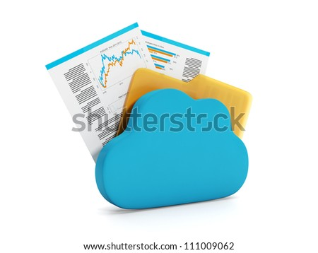 3d illustration of internet technology. Store documents online - stock photo