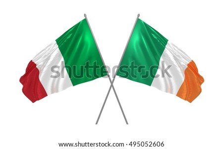 3d illustration of Italy and Ireland flags waving