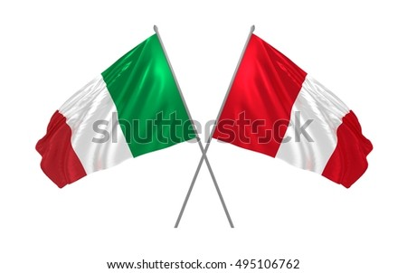 3d illustration of Italy and Peru flags waving