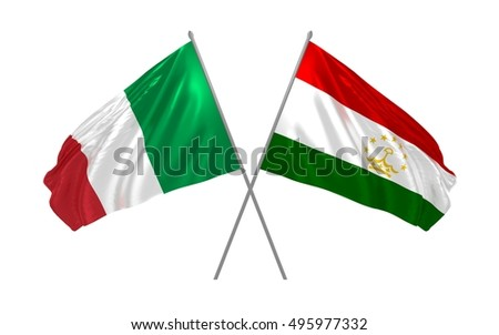 3d illustration of Italy and Tajikistan flags waving
