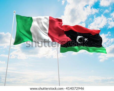 3D illustration of Italy & Libya Flags are waving in the sky - stock photo