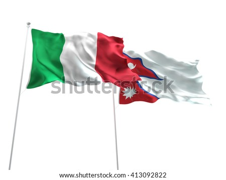 3D illustration of Italy & Nepal Flags are waving on the isolated white background - stock photo