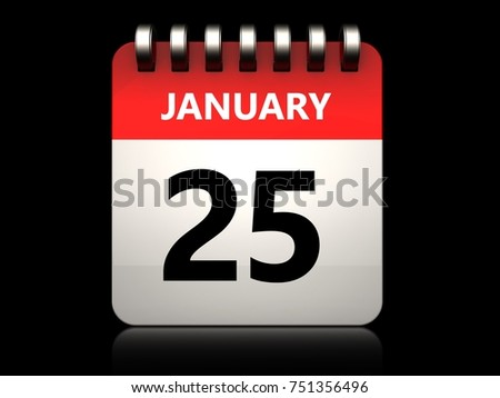 3d illustration of 25 january calendar over black background