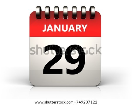 3d illustration of 29 january calendar over white background