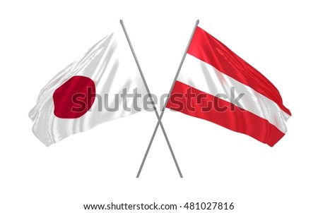 3d illustration of Japan and Austria flags waving