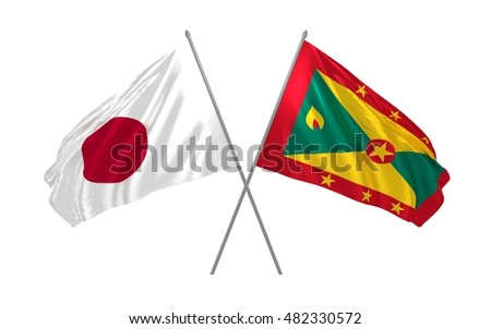 3d illustration of Japan and Grenada flags waving