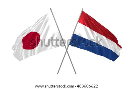 3d illustration of Japan and Netherlands flags waving