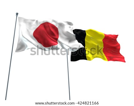 3D illustration of Japan & Belgium Flags are waving on the isolated white background - stock photo