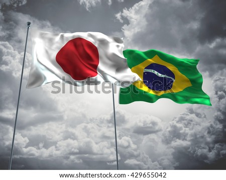 3D illustration of Japan & Brazil Flags are waving in the sky with dark clouds  - stock photo