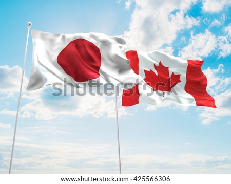 3D illustration of Japan & Canada Flags are waving in the sky - stock photo