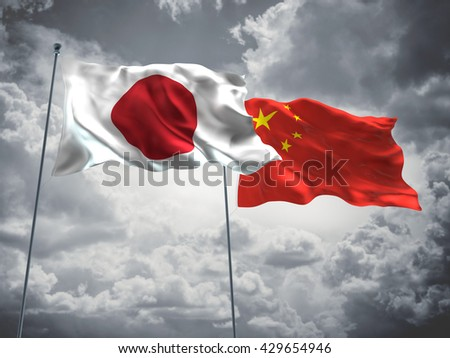 3D illustration of Japan & China Flags are waving in the sky with dark clouds