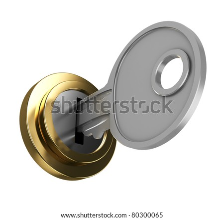 3d illustration of key in key-hole, isolated over white background - stock photo